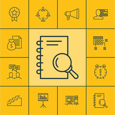 set of project management icons on personal skills presentation