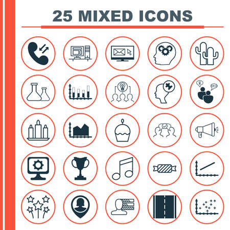 mind set: Set Of 25 Universal Editable Icons. Can Be Used For Web, Mobile And App Design. Includes Icons Such As PC, Sweet, Human Mind And More. Illustration