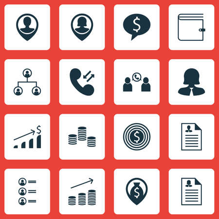 sales executive: Set Of Human Resources Icons On Phone Conference, Business Goal And Tree Structure Topics. Editable Vector Illustration. Includes Success, Pin, Dollar And More Vector Icons.