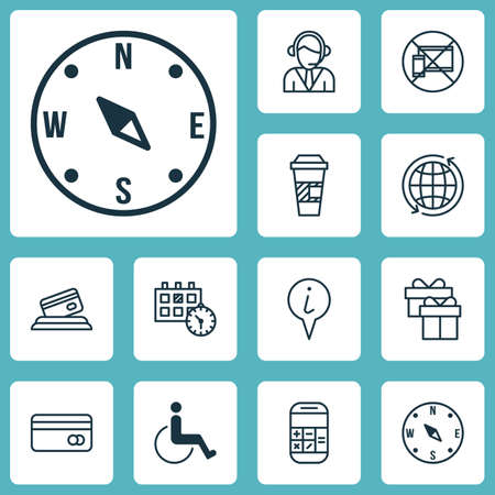 infirm: Set Of Travel Icons On Info Pointer, World And Present Topics. Editable Vector Illustration. Includes Calculation, Paralyzed, Mobile And More Vector Icons.