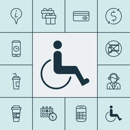 Set Of Travel Icons On Plastic Card, Takeaway Coffee And Accessibility Topics. Editable Vector Illustration. Includes Info, Math, Credit And More Vector Icons.