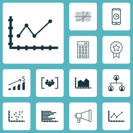 smart goals: Set Of 12 Universal Editable Icons. Can Be Used For Web, Mobile And App Design. Includes Icons Such As Plot Diagram, Call Duration, Bars Chart And More. Illustration