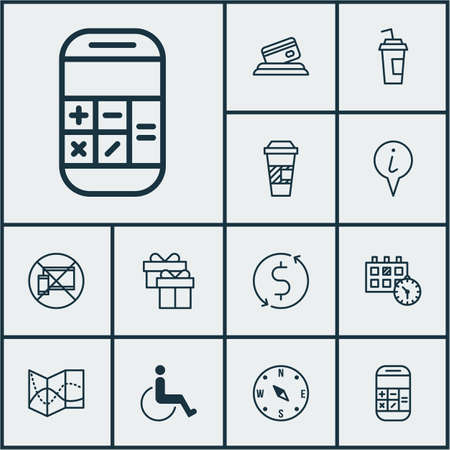 armchair shopping: Set Of Transportation Icons On Road Map, Takeaway Coffee And Present Topics. Editable Vector Illustration. Includes Compass, Dollar, Date And More Vector Icons.