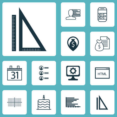 charter: Set Of 12 Universal Editable Icons. Can Be Used For Web, Mobile And App Design. Includes Icons Such As Report, Celebration Cake, Money Navigation And More.