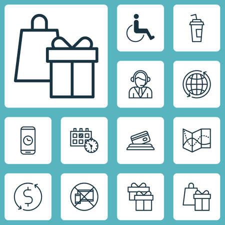 infirm: Set Of Traveling Icons On Forbidden Mobile, World And Appointment Topics. Editable Vector Illustration. Includes Gift, Present, Time And More Vector Icons. Illustration
