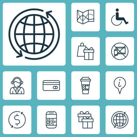 infirm: Set Of Travel Icons On Info Pointer, Road Map And Shopping Topics. Editable Vector Illustration. Includes Gift, Card, Map And More Vector Icons. Illustration
