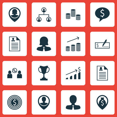 debt collection: Set Of Hr Icons On Bank Payment, Business Woman And Business Goal Topics. Editable Vector Illustration. Includes User, Stacked, Call And More Vector Icons. Illustration