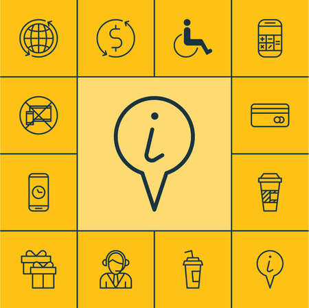 transact: Set Of Travel Icons On Accessibility, Present And Money Trasnfer Topics. Editable Vector Illustration. Includes Time, Paper, Pointer And More Vector Icons.