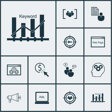 Set Of SEO Icons On Keyword Marketing, Keyword Optimisation And Media Campaign Topics. Editable Vector Illustration. Includes Businessman, Marketing, Click And More Vector Icons. Illustration