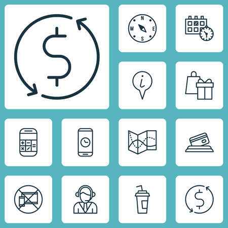tour operator: Set Of Traveling Icons On Call Duration, Calculation And Shopping Topics. Editable Vector Illustration. Includes Exchange, Calculator, Cup And More Vector Icons.