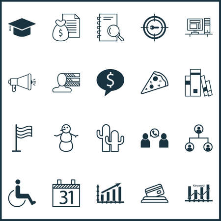 optimisation: Set Of 20 Universal Editable Icons. Can Be Used For Web, Mobile And App Design. Includes Icons Such As Sliced Pizza, Keyword Optimisation, Media Campaign And More.