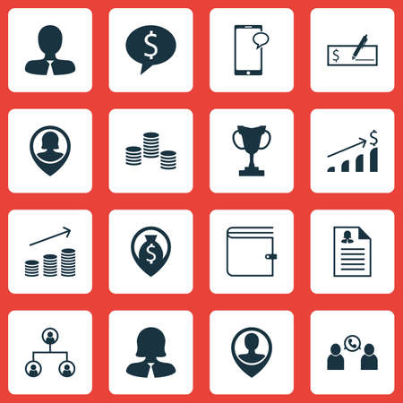biography: Set Of Management Icons On Phone Conference, Business Deal And Business Woman Topics. Editable Vector Illustration. Includes Tree, Growth, Chat And More Vector Icons.