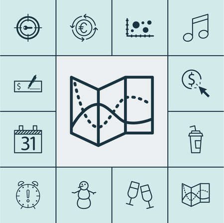crotchets: Set Of 12 Universal Editable Icons. Can Be Used For Web, Mobile And App Design. Includes Icons Such As Bank Payment, Crotchets, Comparison And More. Illustration