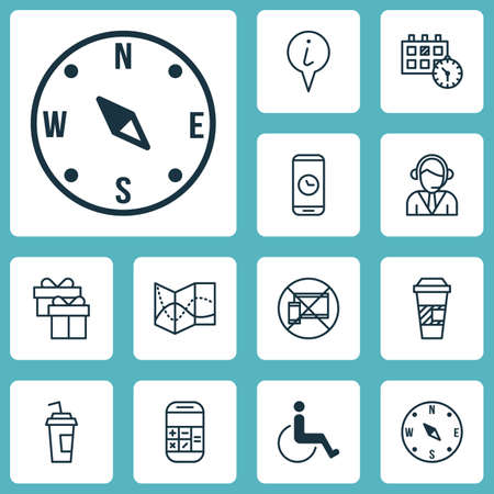 appointment: Set Of Airport Icons On Appointment, Info Pointer And Locate Topics. Editable Vector Illustration. Includes Drink, Compass, Operator And More Vector Icons.