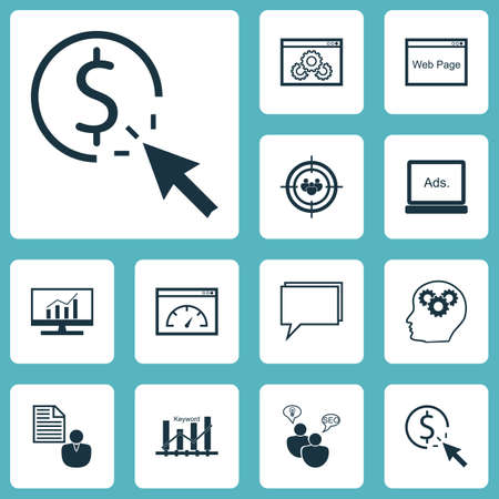 keyword research: Set Of SEO Icons On Website Performance, Keyword Optimisation And Market Research Topics. Editable Vector Illustration. Includes Click, Target, Consulting And More Vector Icons.