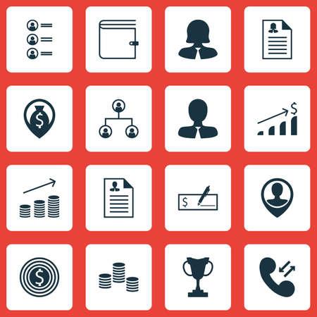 Set Human Resources Icons Auf Lebenslauf, Geschäftsfrau Und ...