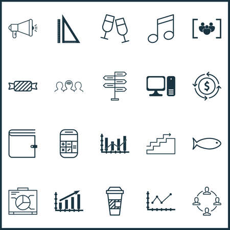 electronic survey: Set Of 20 Universal Editable Icons. Can Be Used For Web, Mobile And App Design. Includes Icons Such As Crotchets, Questionnaire, Takeaway Coffee And More. Illustration