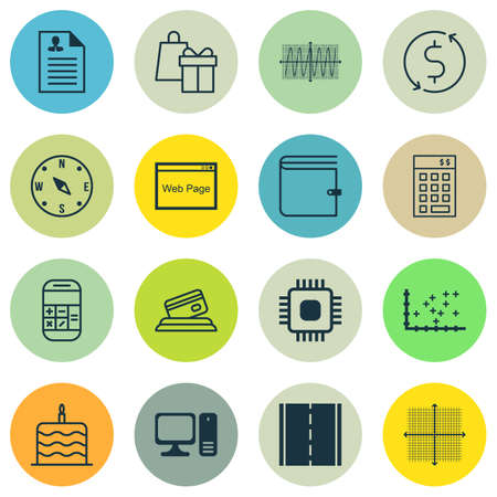 cosinus: Set Of 16 Universal Editable Icons. Can Be Used For Web, Mobile And App Design. Includes Icons Such As Cosinus Diagram, Wallet, Chip And More.
