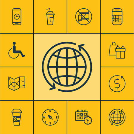paralyzed: Set Of Traveling Icons On Road Map, Locate And Calculation Topics. Editable Vector Illustration. Includes Drink, Paralyzed, Shopping And More Vector Icons.