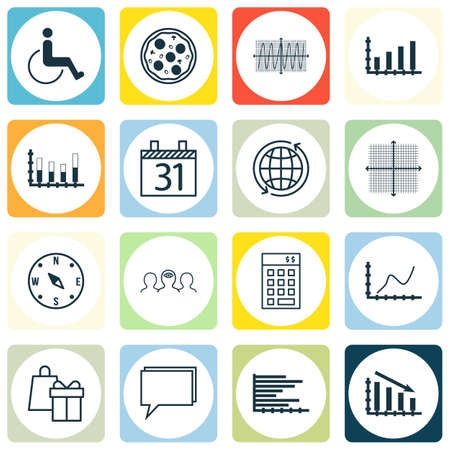 cosinus: Set Of 16 Universal Editable Icons. Can Be Used For Web, Mobile And App Design. Includes Icons Such As Locate, Bars Chart, Cosinus Diagram And More.
