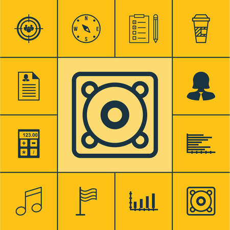 crotchets: Set Of 12 Universal Editable Icons. Can Be Used For Web, Mobile And App Design. Includes Icons Such As Music, Takeaway Coffee, Crotchets And More.