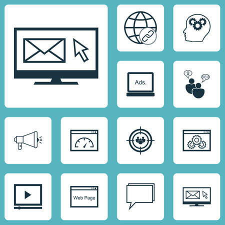 Ensemble d'icônes marketing sur remue-méninges SEO, groupe de discussion et sujets de vitesse de chargement. Illustration vectorielle modifiable. Inclut la recherche, la vidéo, le navigateur et plus d'icônes de vecteur.