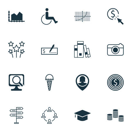 infirm: Set Of 16 Universal Editable Icons. Can Be Used For Web, Mobile And App Design. Includes Icons Such As Bank Payment, Accessibility, Pin Employee And More.
