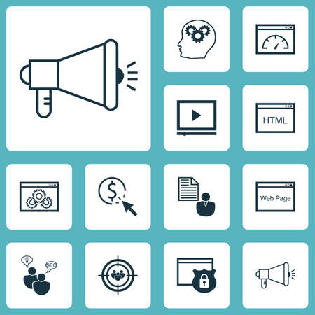 consumer society: Set Of SEO Icons On Loading Speed, Media Campaign And Security Topics. Editable Vector Illustration. Includes Focus, Browser, Web And More Vector Icons.