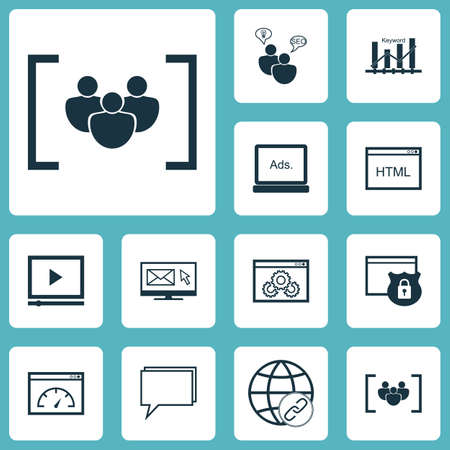 briefing: Set Of Marketing Icons On Keyword Optimisation, Security And Connectivity Topics. Editable Vector Illustration. Includes Online, Conference, Ranking And More Vector Icons. Illustration