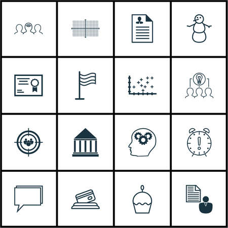 Set Of 16 Universal Editable Icons. Can Be Used For Web, Mobile And App Design. Includes Icons Such As Curriculum Vitae, Credit Card, Focus Group And More.