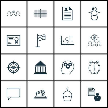 Ensemble de 16 icônes modifiables universelles. Peut être utilisé pour le Web, Mobile et App Design. Comprend des icônes telles que Curriculum Vitae, carte de crédit, groupe de discussion et plus.