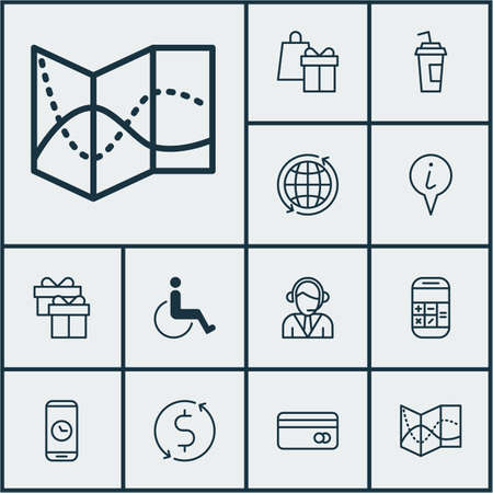 paralyzed: Set Of Airport Icons On Shopping, Money Trasnfer And Present Topics. Editable Vector Illustration. Includes Calculation, Phone, Paralyzed And More Vector Icons.