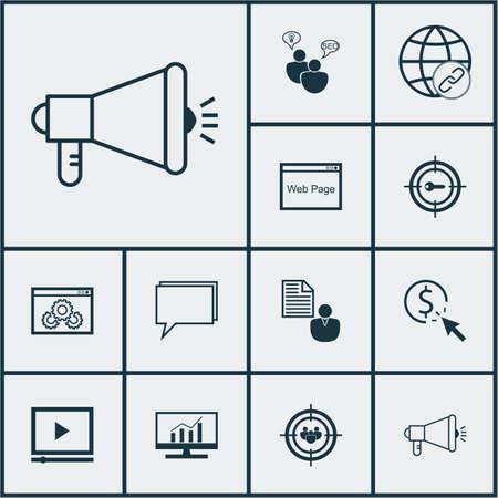 Ensemble d'icônes de SEO sur le marketing de mot-clé, groupe de discussion et sujets de site Web. Illustration vectorielle modifiable. Comprend Digital, Page, Consulting et plusieurs icônes vectorielles.