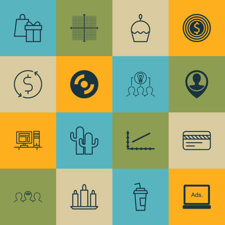 spending: Set Of 16 Universal Editable Icons. Can Be Used For Web, Mobile And App Design. Includes Icons Such As Employee Location, Birthday Cake, Drink Cup And More. Illustration