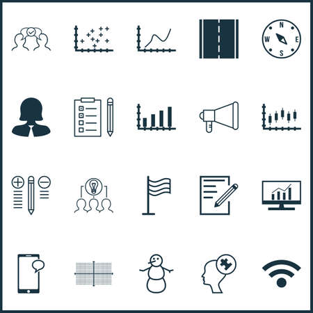 electronic survey: Set Of 20 Universal Editable Icons. Can Be Used For Web, Mobile And App Design. Includes Icons Such As Photo Camera, Dynamics, Business Woman And More.