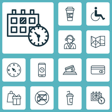 infirm: Set Of Traveling Icons On Locate, Call Duration And Accessibility Topics. Editable Vector Illustration. Includes Center, Debit, Card And More Vector Icons. Illustration