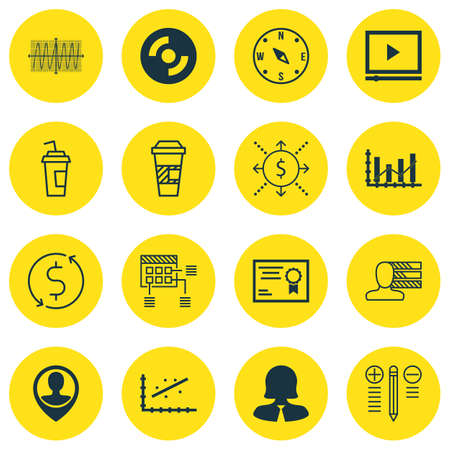 locate: Set Of 16 Universal Editable Icons. Can Be Used For Web, Mobile And App Design. Includes Icons Such As Decision Making, Locate, Certificate And More. Illustration