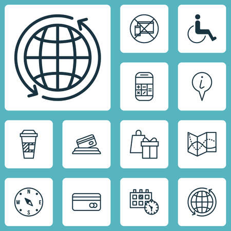 paralyzed: Set Of Transportation Icons On Locate, Info Pointer And Accessibility Topics. Editable Vector Illustration. Includes Locate, Paralyzed, Cup And More Vector Icons. Illustration