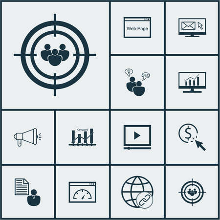 Set Of Advertising Icons On PPC, Connectivity And SEO Brainstorm Topics. Editable Vector Illustration. Includes Advertising, Marketing, Matching And More Vector Icons. Illustration