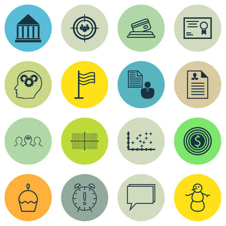 Set Of 16 Universal Editable Icons. Can Be Used For Web, Mobile And App Design. Includes Icons Such As Square Diagram, Business Goal, Education Center And More. Illustration