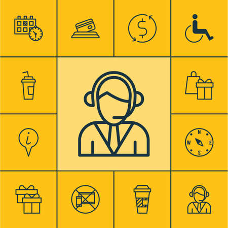 tour operator: Set Of Airport Icons On Locate, Drink Cup And Credit Card Topics. Editable Vector Illustration. Includes Shopping, Call, Present And More Vector Icons.