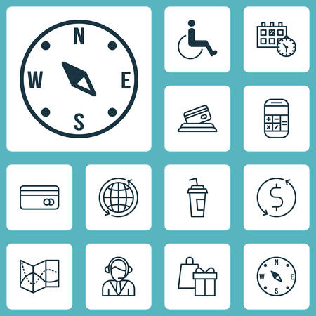 paralyzed: Set Of Transportation Icons On Locate, Appointment And Road Map Topics. Editable Vector Illustration. Includes Call, Paralyzed, Card And More Vector Icons.