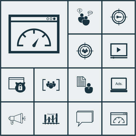briefing: Set Of SEO Icons On Security, Media Campaign And Questionnaire Topics. Editable Vector Illustration. Includes Client, Page, Consulting And More Vector Icons.