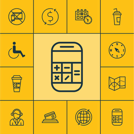 accessibility: Set Of Transportation Icons On Accessibility, Calculation And Takeaway Coffee Topics. Editable Vector Illustration. Includes Dollar, Card, Road And More Vector Icons.