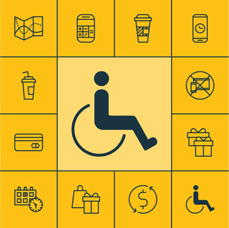 transact: Set Of Transportation Icons On Call Duration, Drink Cup And Appointment Topics. Editable Vector Illustration. Includes Drink, Gift, Road And More Vector Icons.