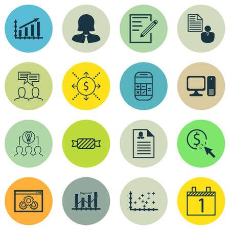 Conjunto de 16 iconos universales editables. Se puede utilizar para web, móvil y de App Diseño. Incluye iconos como del beneficio de asunto, de papel, de aplicación femenino y más. Ilustración de vector