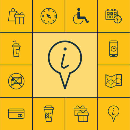 paralyzed: Set Of Traveling Icons On Plastic Card, Info Pointer And Shopping Topics. Editable Vector Illustration. Includes Holiday, Paralyzed, Compass And More Vector Icons. Illustration