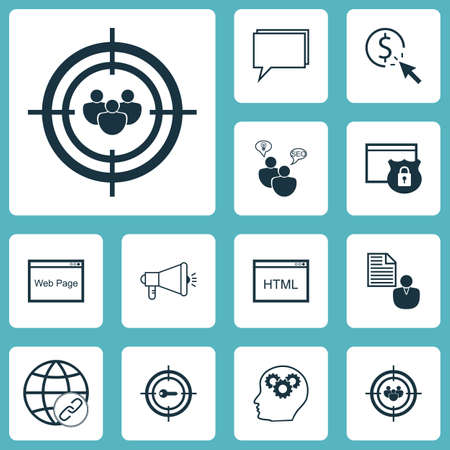 Set Of Marketing Icons On Report, Keyword Marketing And Coding Topics. Editable Vector Illustration. Includes Conference, Protected, Community And More Vector Icons. Illustration