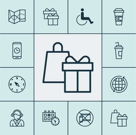 infirm: Set Of Transportation Icons On Takeaway Coffee, Road Map And Present Topics. Editable Vector Illustration. Includes Around, Calendar, Road And More Vector Icons.