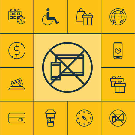 accessibility: Set Of Airport Icons On Present, Forbidden Mobile And Locate Topics. Editable Vector Illustration. Includes World, Accessibility, Globe And More Vector Icons.
